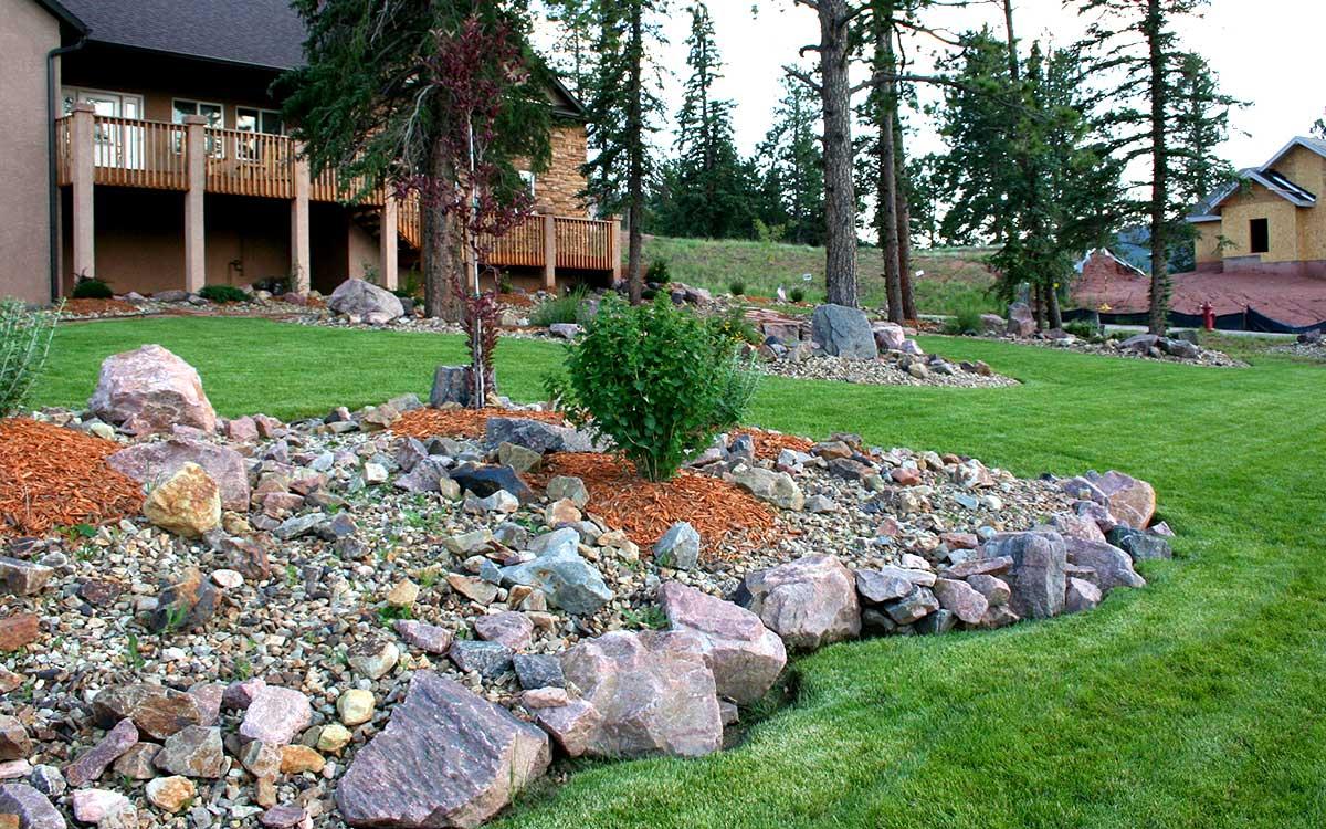 Unique Natural Outdoor Living Space, Backyard, Woodland Park Landscape Designer